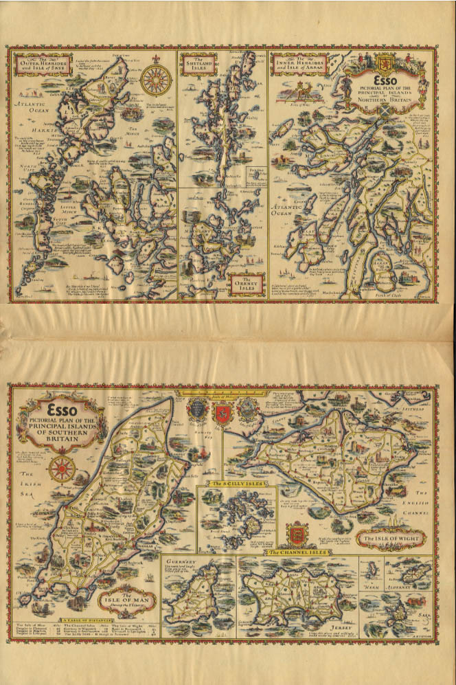 Esso Pictorial Plan Northern & Southern Islands UK map by A E Taylor 1932