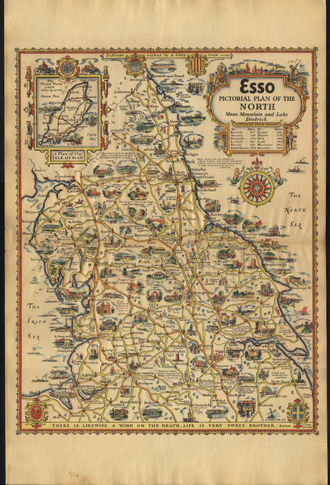 Esso Pictorial Plan Moor Mountain & Lake Districts UK map by A E Taylor 1932