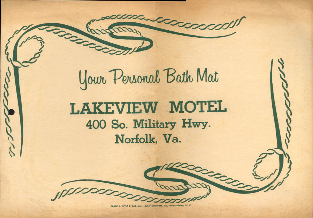 Lakeview Motel 400 S Military Hwy Norfolk VA bath mat ca 1950s