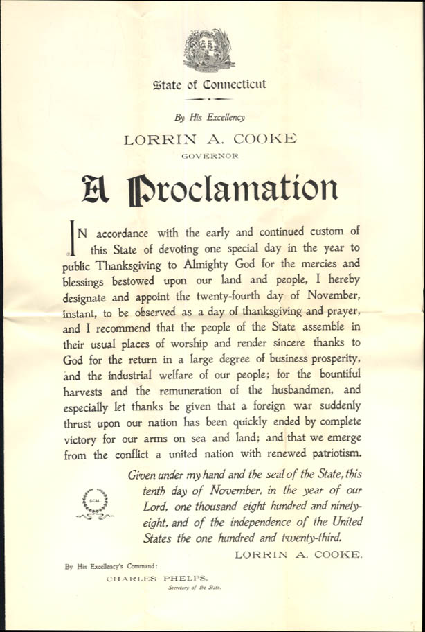 Connecticut Governor Lorrin A Cooke Thanksgiving Day Proclamation 1898