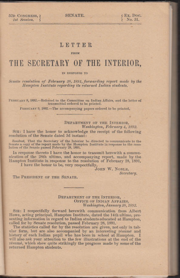 Record of Indian Students Returned from the Hampton Institute 1891