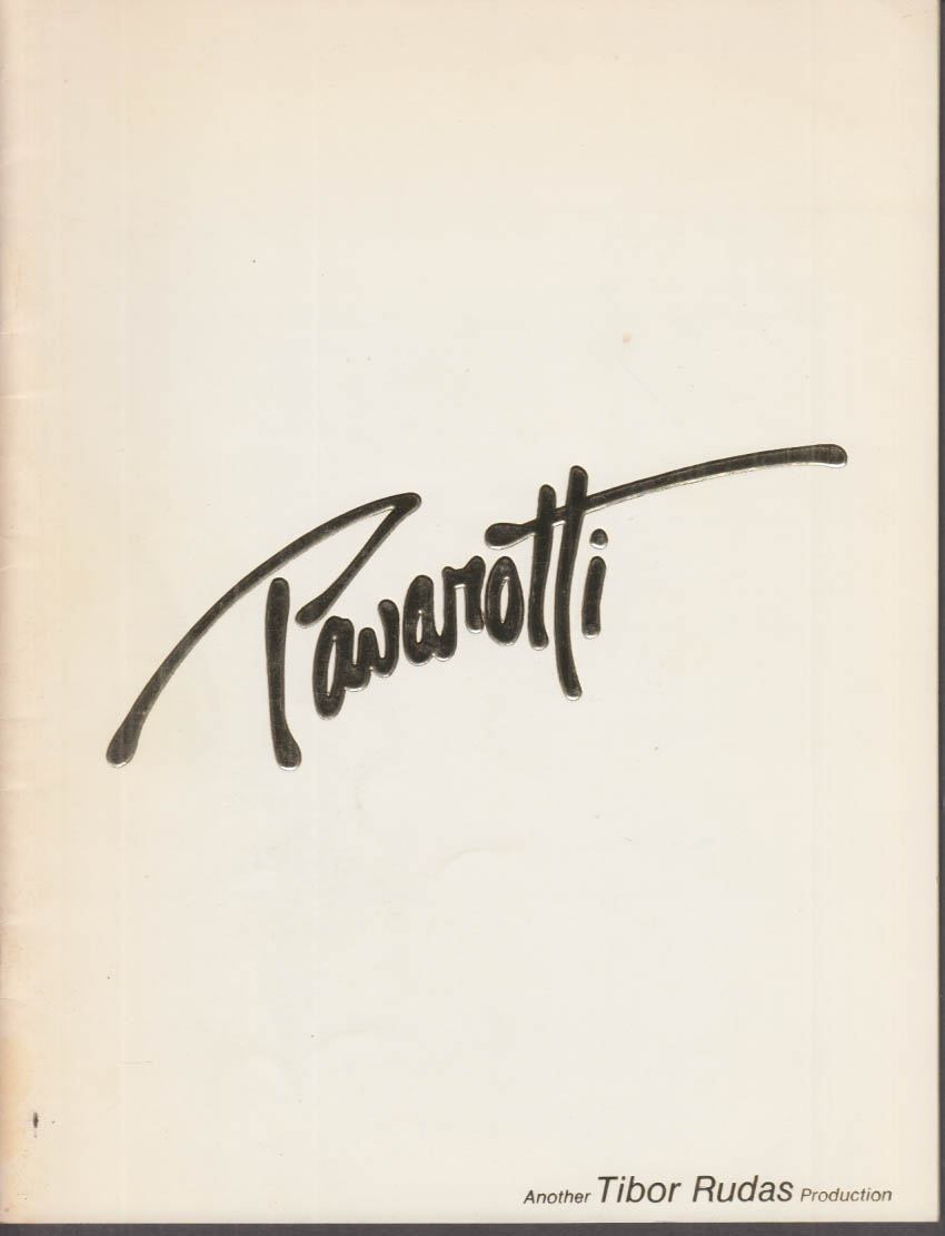 Luciano Pavarotti Souvenir Concert Program Hartford CT 1988