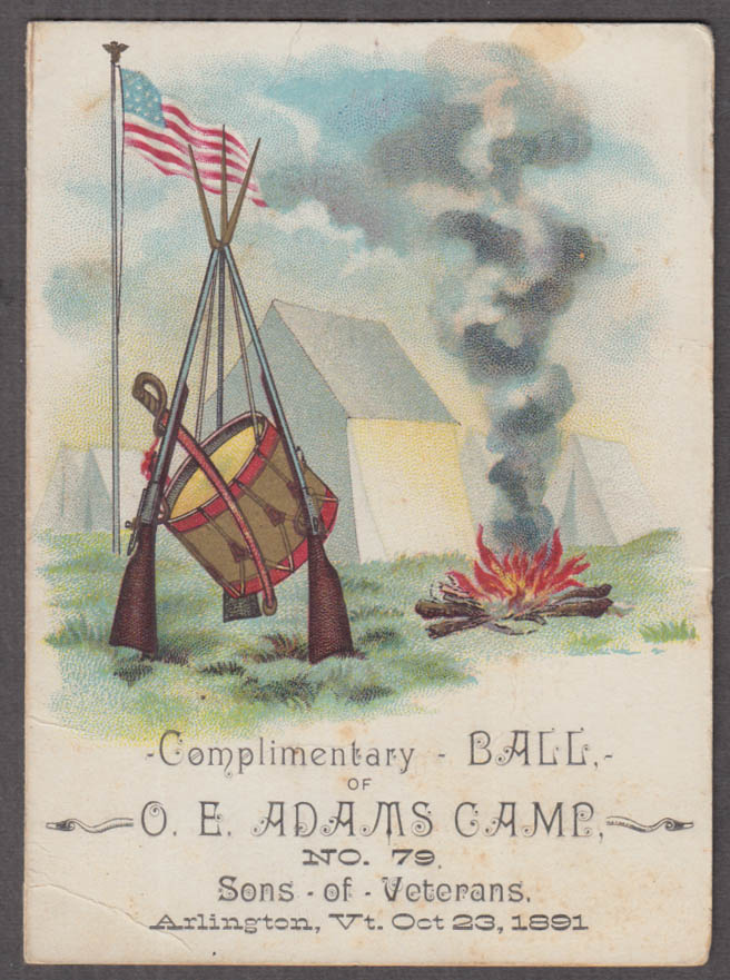 Complimentary Ball O E Adams Camp Sons of Union Veterans card 1891 Arlington VT