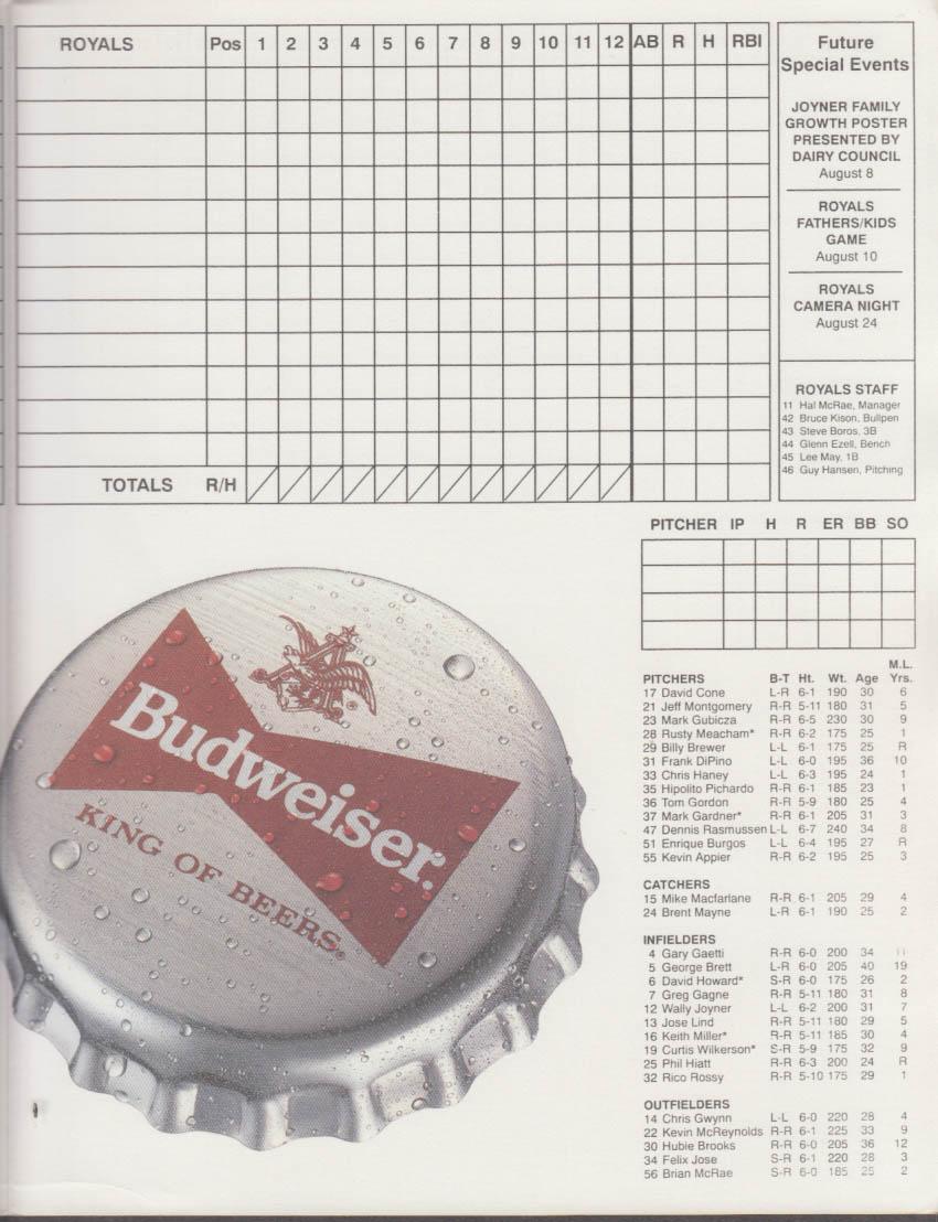 1993 Kansas City Royals v Texas Rangers scorecard unscored
