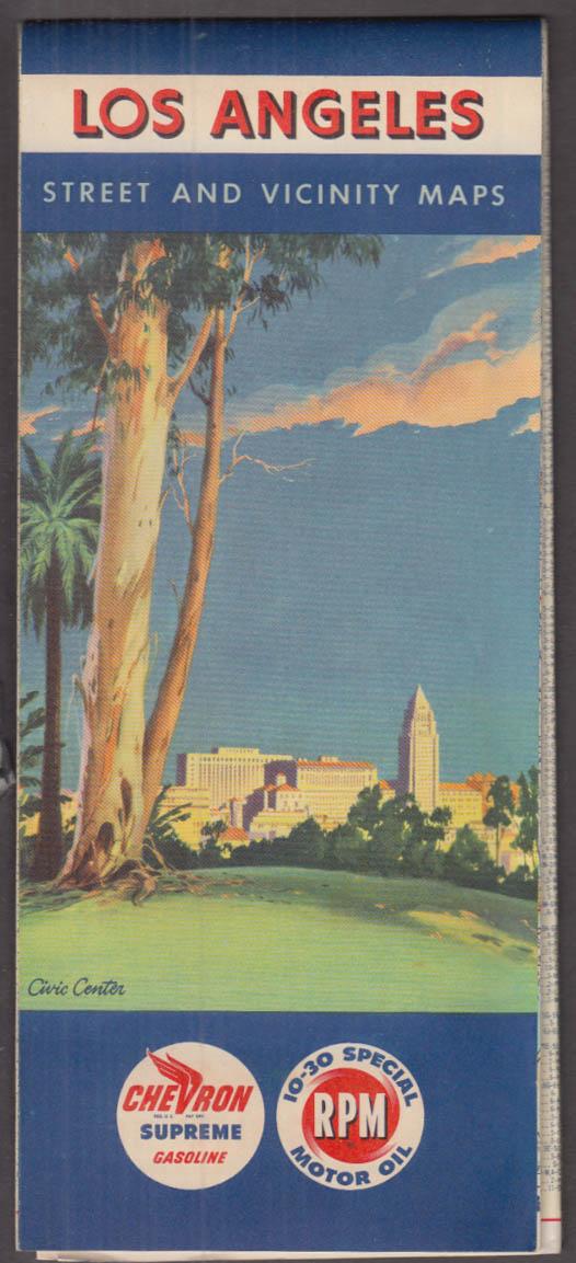 Chevron Supreme Gasoline Road Map Los Angeles Street & Vicinity Maps 1956