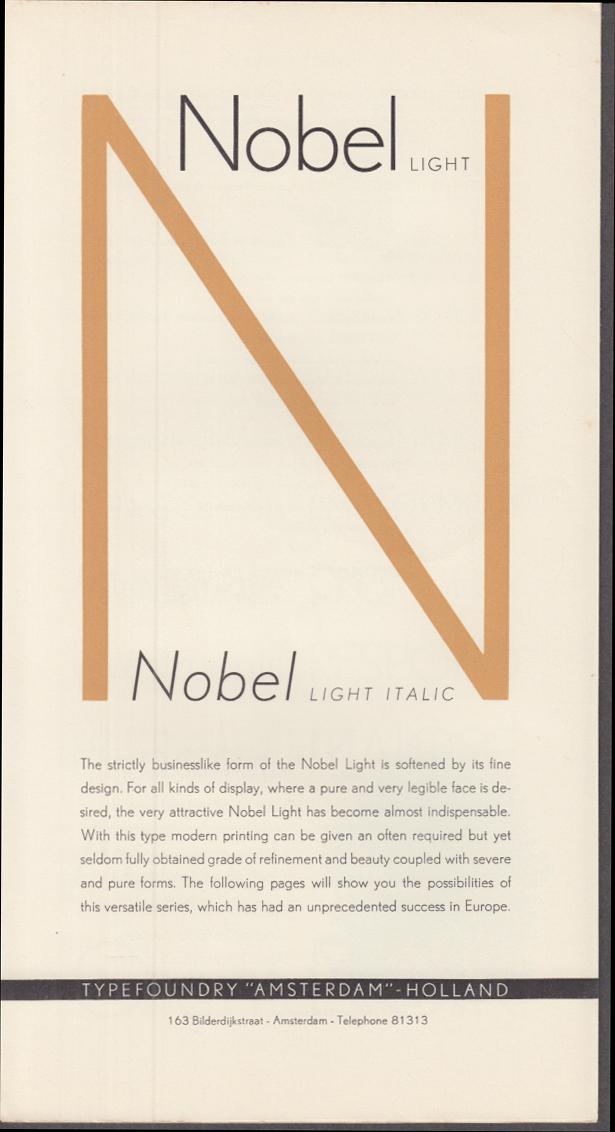 ATF Typefoundry Amsterdam NOBEL LIGHT & ITALIC typeface showing folder 1951