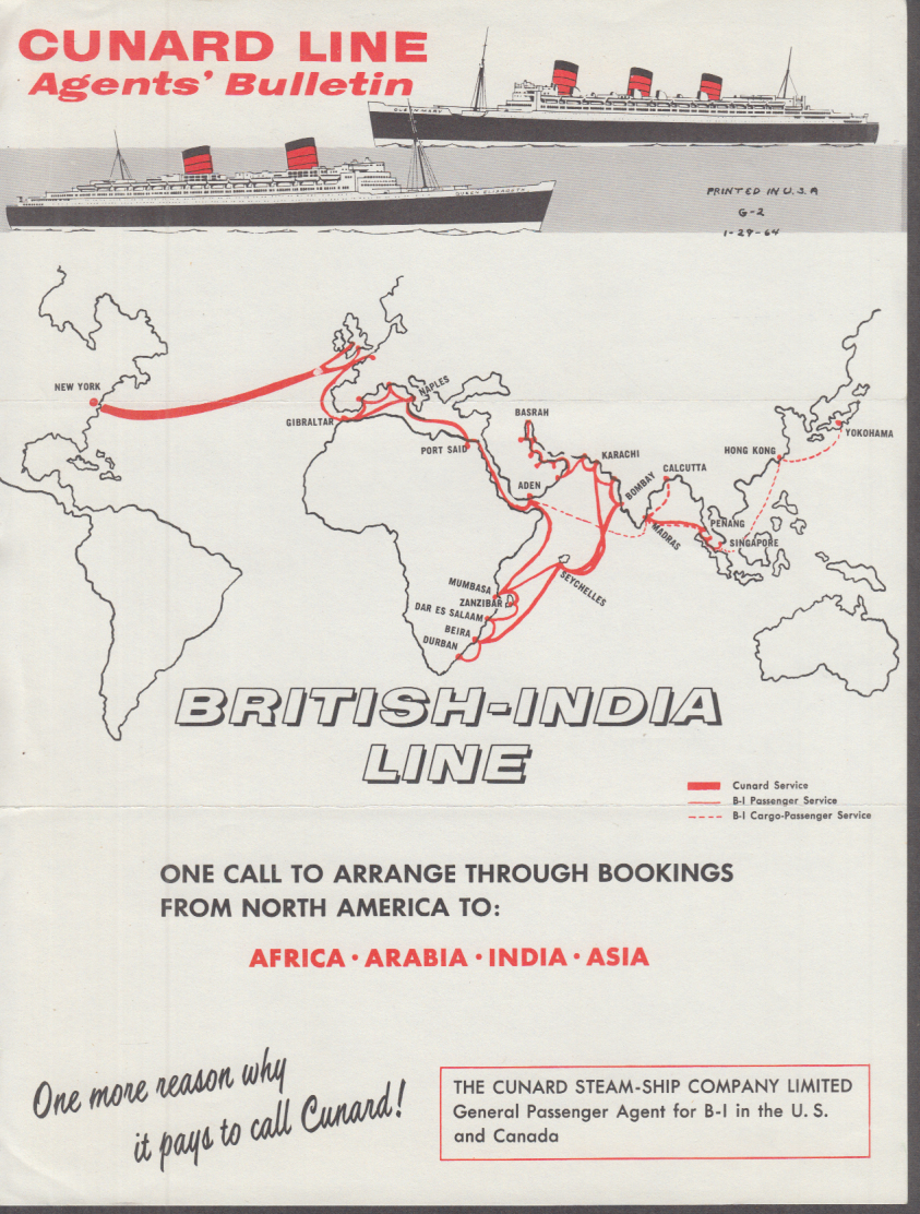 Cunard Line Agents Bulletin 1964 re: British-India Line booking Africa Far East