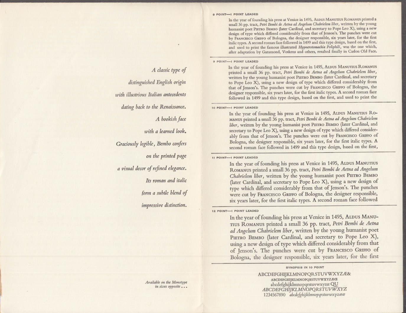 Bullard Typographers typeface showing Bembo 1940s