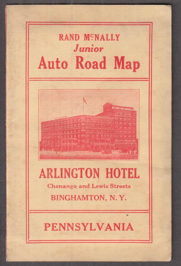 Arlington Hotel Binghamton NY Junior Auto Road Map of Pennsylvania 1926