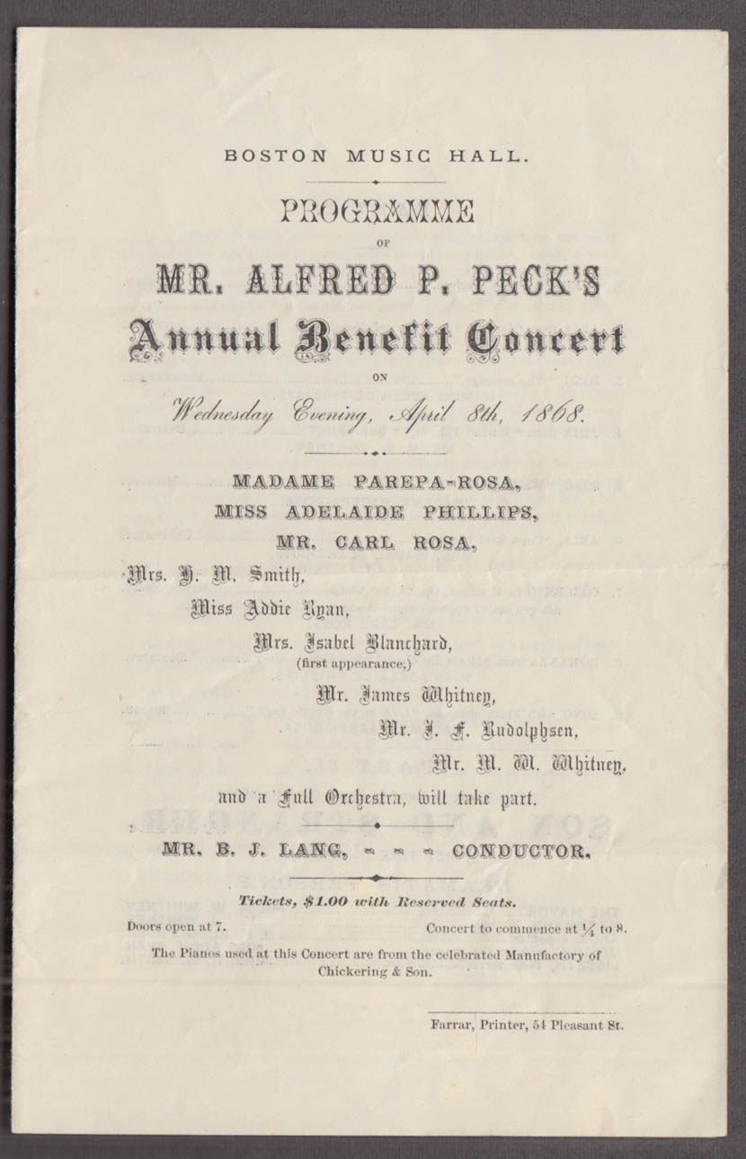 Alfred P Peck Benefit Concert Boston Music Hall programme 1868 Parepa-Rosa +