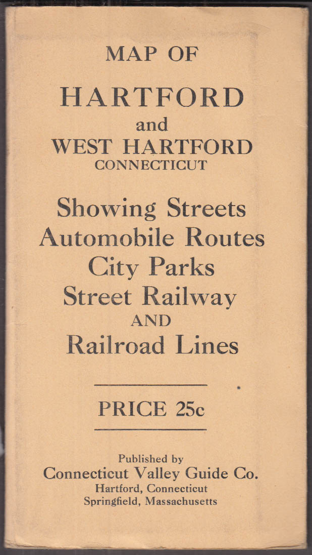 Connecticut Valley Guide Street & Railway Map of Hartford & W Hartford CT 1930