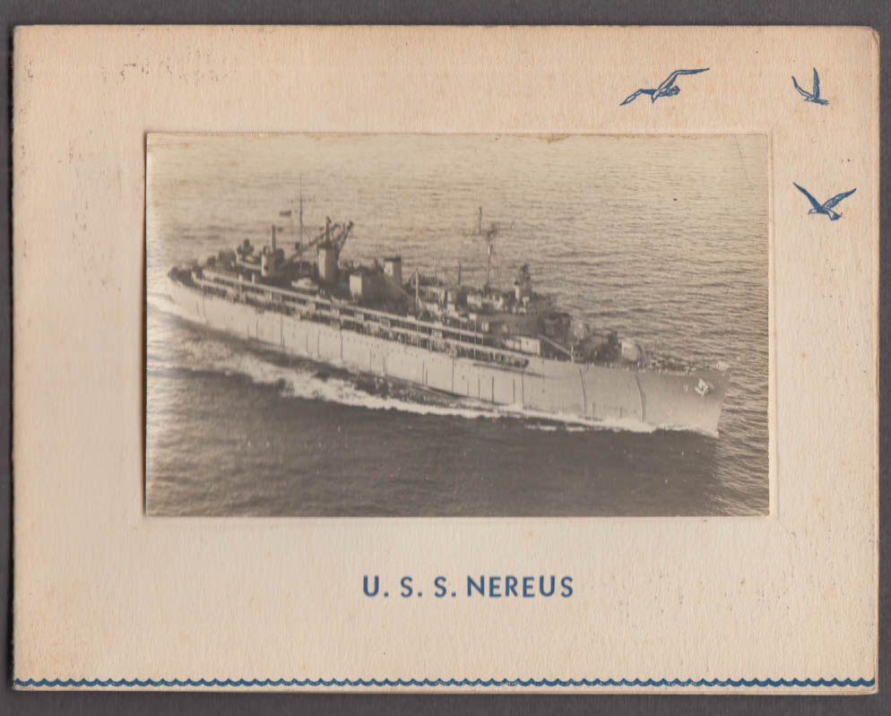 US Navy U S S Nereus AS-17 Submarine Tender greeting card 1950s w/ real photo