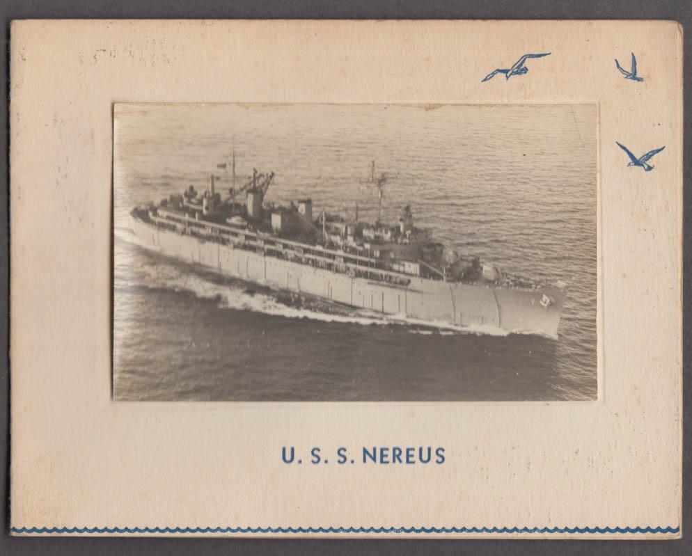 US Navy U S S Nereus AS-17 Submarine Tender greeting card 1950s w/ real photo