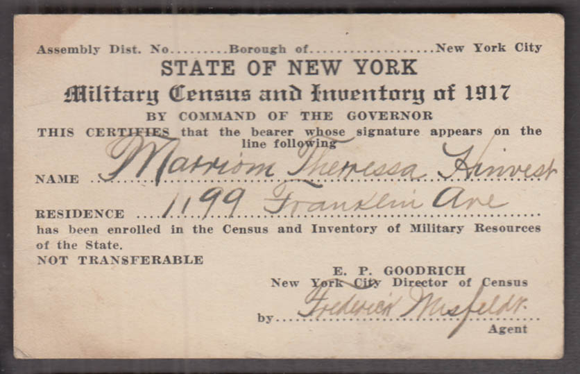 State of New York Military Resources Census & Inventory bearer ID card 1917