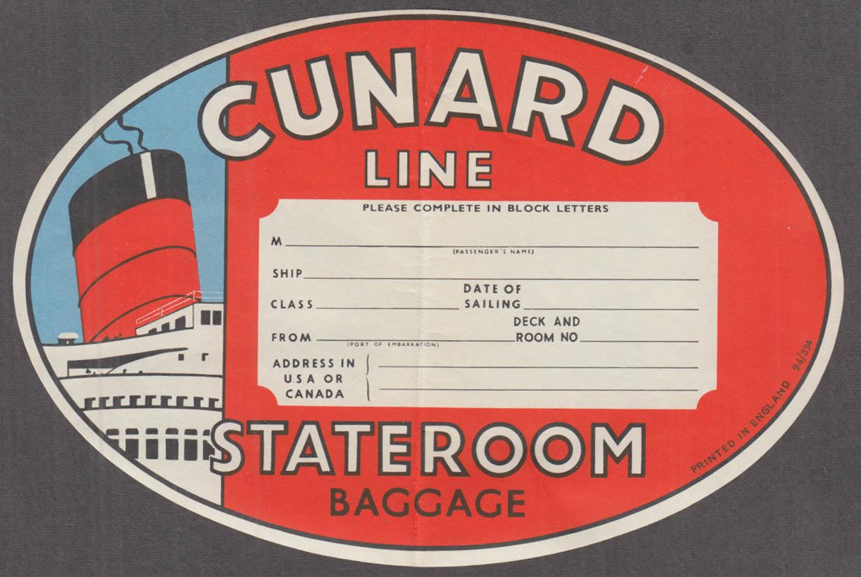 Cunard Line Stateroom Baggage label 1950s gummed