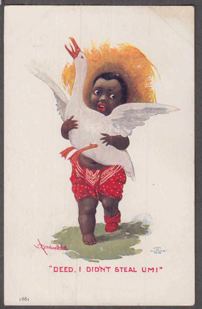 """Deed, I Didn't Steal um!"" Negro boy stereotype postcard 1906"