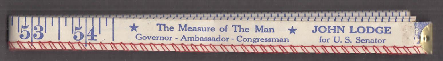 John Lodge for U S Senator from Connecticut cloth tape measure 1964