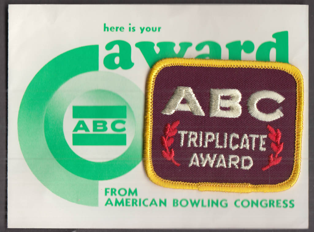American Bowling Congress ABC Triplicate Award & paperwork 1983