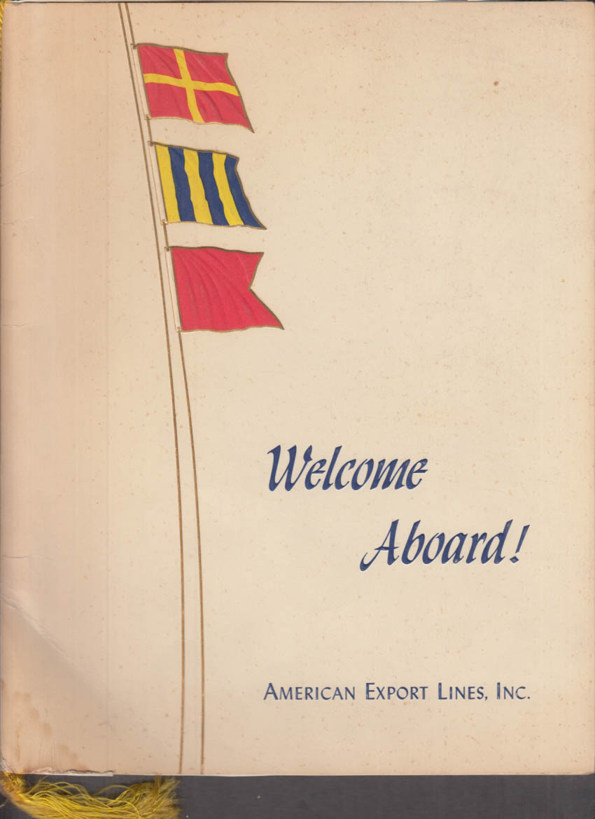 American Export Lines S S Constitution Welcome Aboard Dinner Menu 7/8 1965