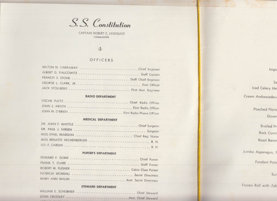 American Export Isbrandtsen Lines S S Constituion Welcome Dinner Menu 7/25 1965