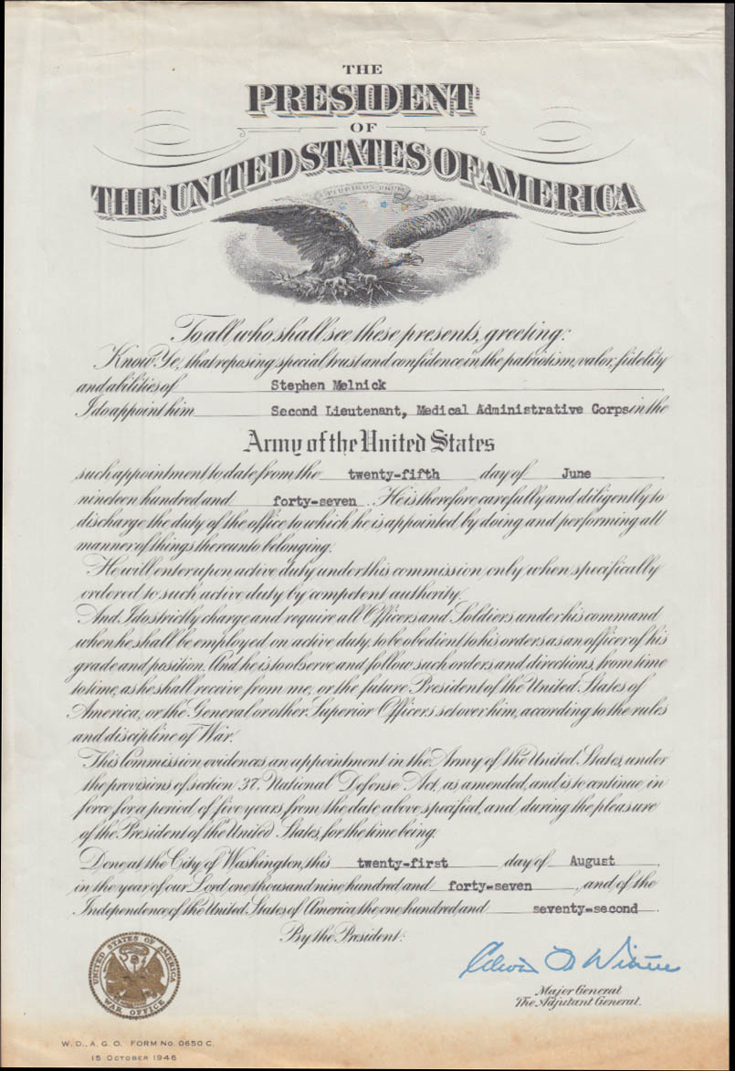 Presidential US Army 2nd Lieutenant Medical Admin Corps Appointment 1946
