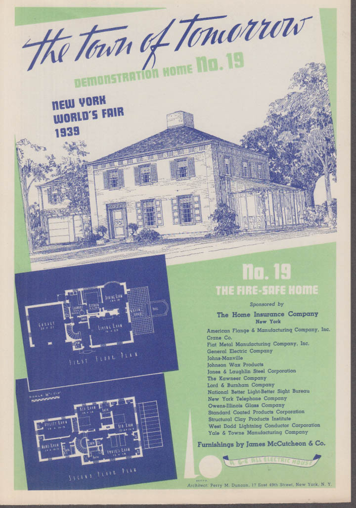 1939 New York World's Fair Town of Tomorrow folder #19 The Fire-Safe Home