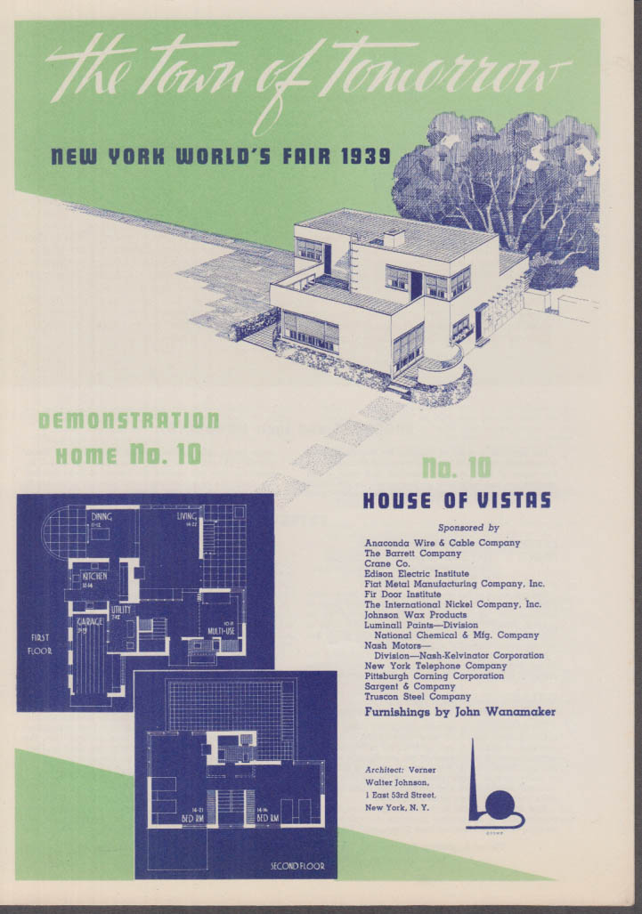 1939 New York World's Fair Town of Tomorrow folder #10 House of Vistas