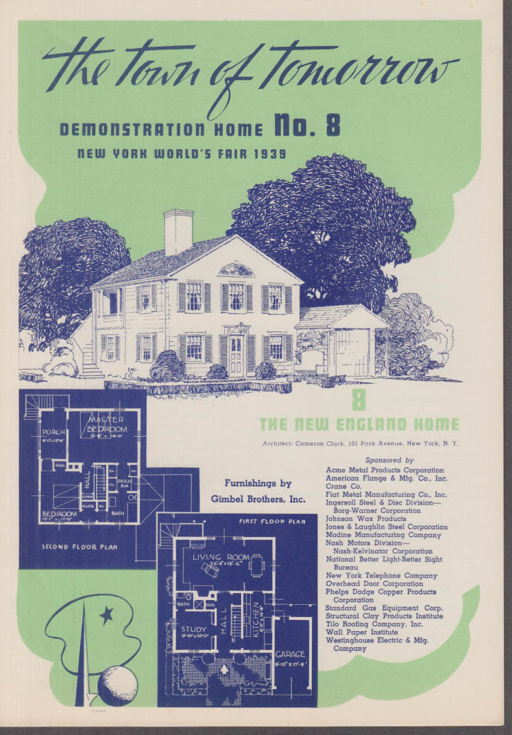 1939 New York World's Fair Town of Tomorrow folder #8 New England Home