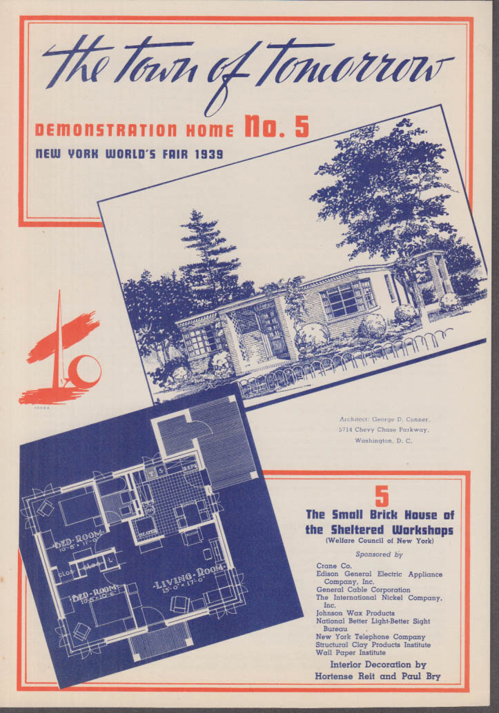1939 New York World's Fair Town of Tomorrow folder #5 Sheltered Workshop House