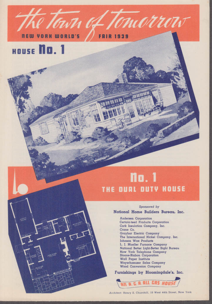 1939 New York World's Fair Town of Tomorrow folder #1 The Dual Duty House