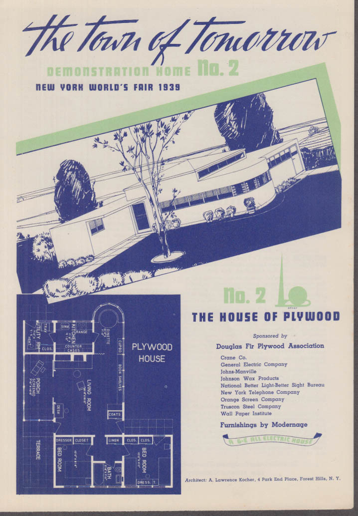 1939 New York World's Fair Town of Tomorrow folder #2 House of Plywood