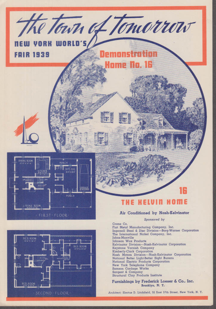 1939 New York World's Fair Town of Tomorrow folder #16 The Kelvin Home
