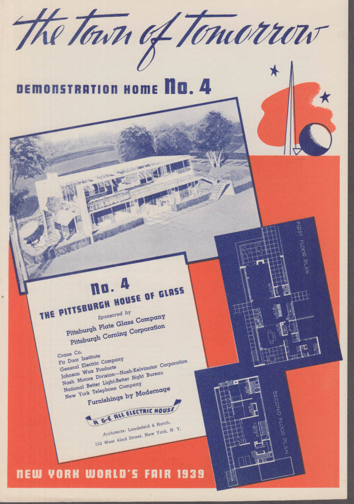 1939 New York World's Fair Town of Tomorrow folder #4 Pittsburgh House of Glass