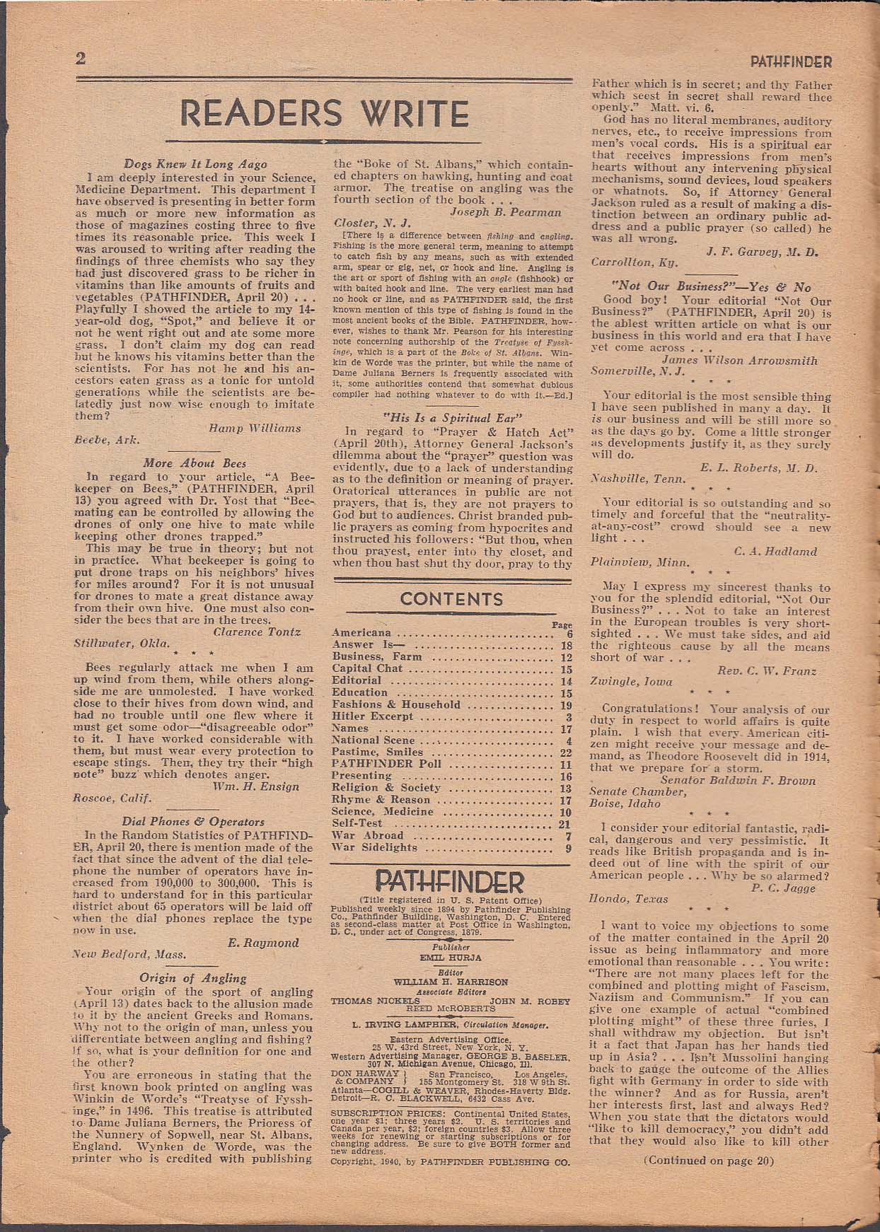 PATHFINDER Harold Stassen; Mein Kampf; Goebbels; FDR + 5/11 1940