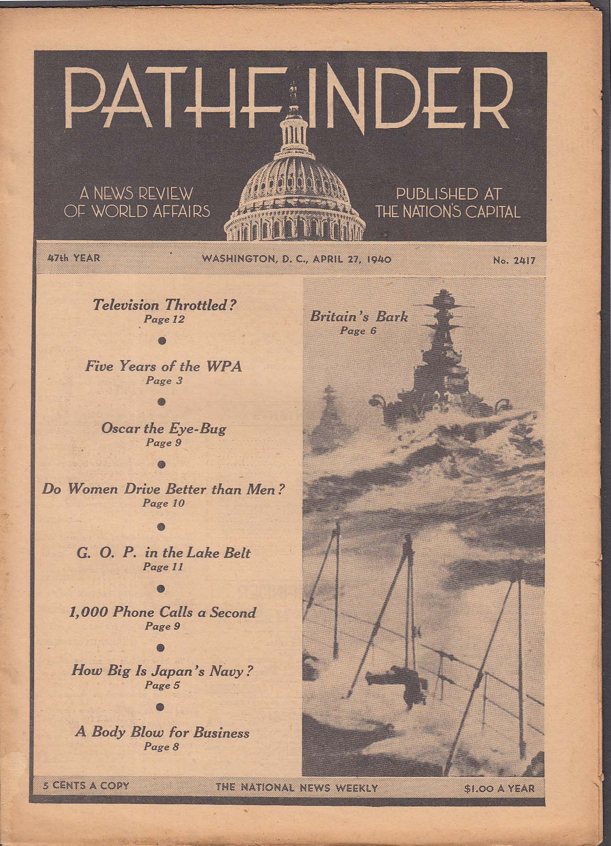 PATHFINDER Television; WPA; Japan's Navy + 4/27 1940