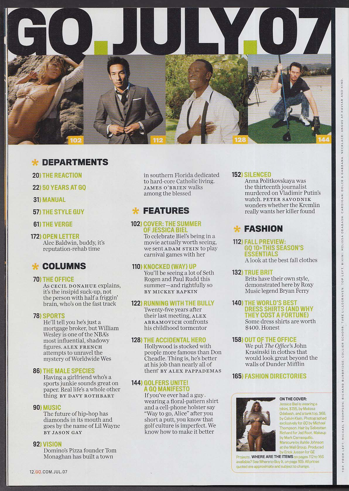GQ Jessica Biel Lil Wayne Don Cheadle Tom Monaghan William Wesley + 7 2007