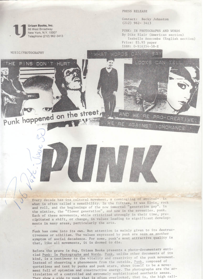 PUNK In Photographs & Words: Rock Style Stance People Stars 1st US review copy