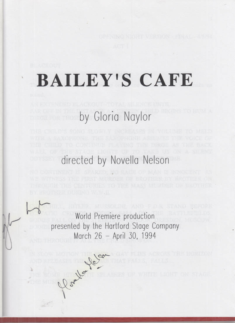 Hartford Stage Bailey's Cafe bound working script SIGNED Gloria Naylor 1994