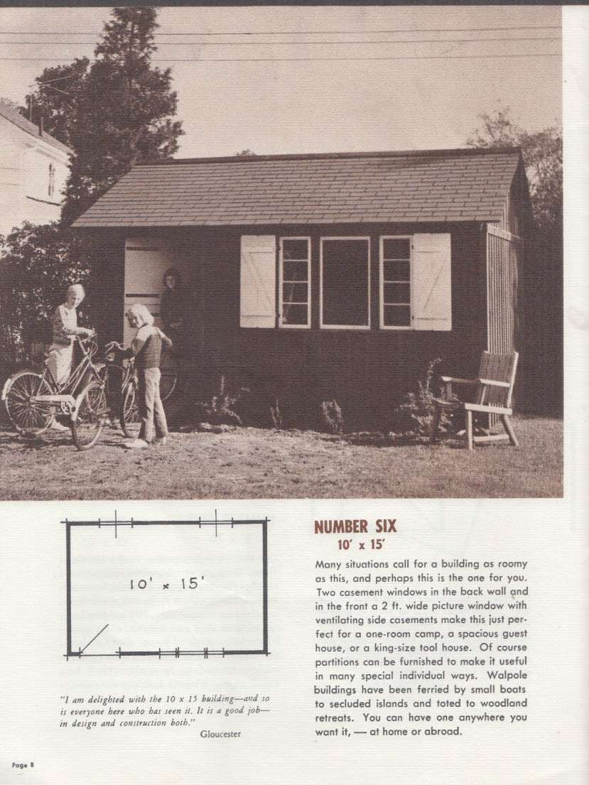 Walpole Woodworkers Small Buildings sales catalog 1967