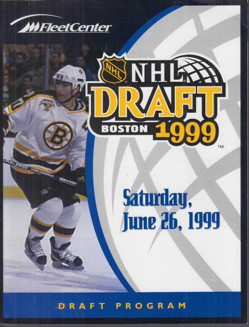 1999 NHL Draft Program Boston Fleet Center 6/26 1999