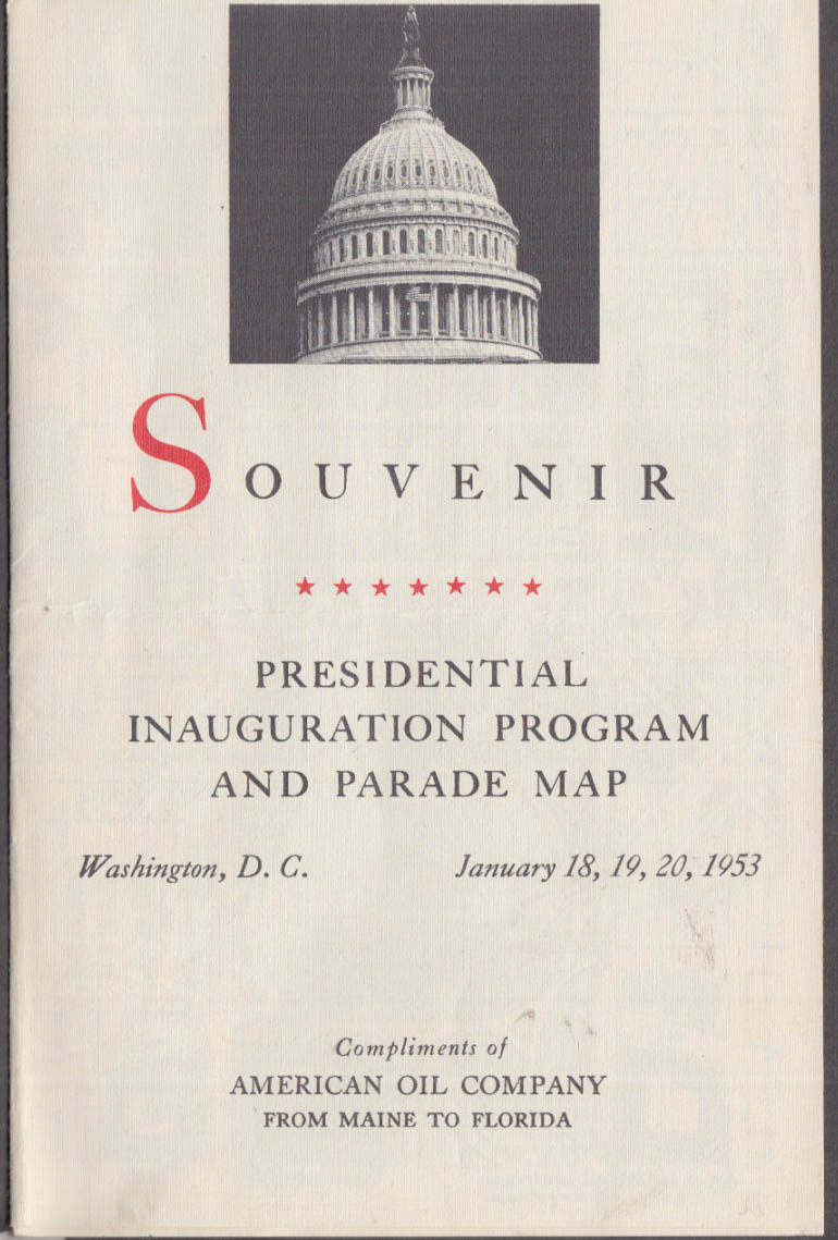 Eisenhower-Nixon Inaugural Program & Parade Map 1953 American Oil