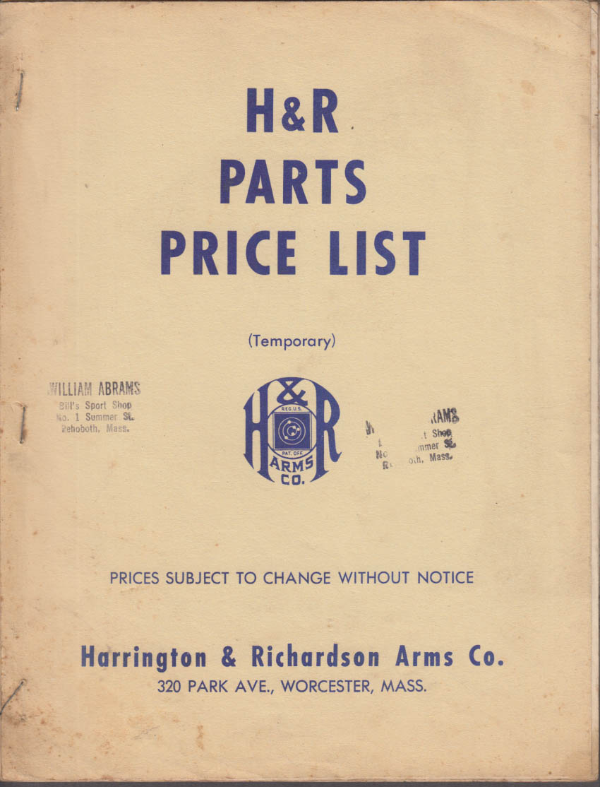 Harrington & Richardson H&R Gun Parts Price List 1940s revolver submachine gun +