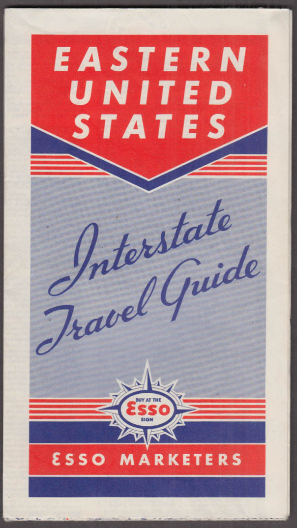 Esso Gasoline Interstate Route Map Northeastern Section 1940