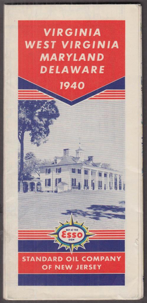 Esso Gasoline Road Map VA WV MD DE 1940 Standard Oil New Jersey