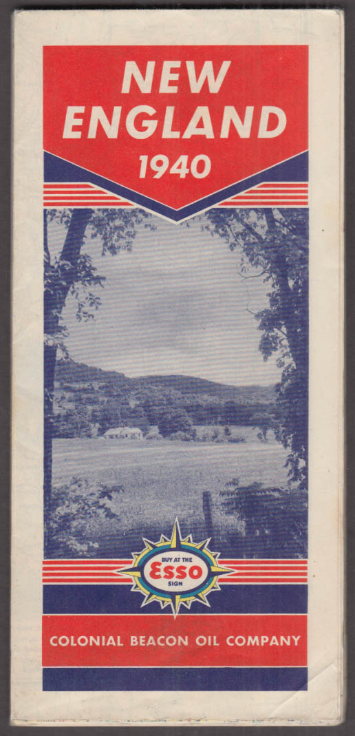 Esso Gasoline Road Map New England 1940 Colonial Beacon Oil