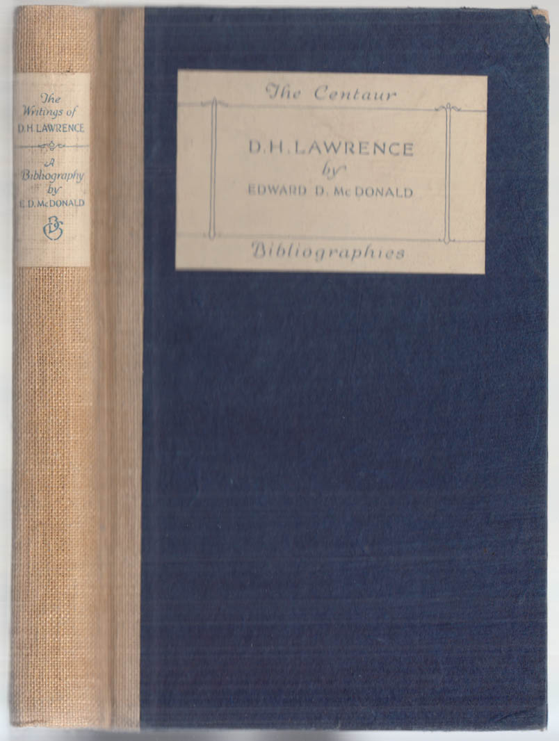 Image for McDonald: Bibliography of the Works of D H Lawrence 1925 1/500 printed