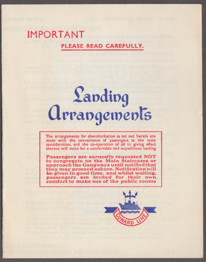 Cunard Line R M S Queen Elizabeth Landing Arrangements New York 8/7 1958