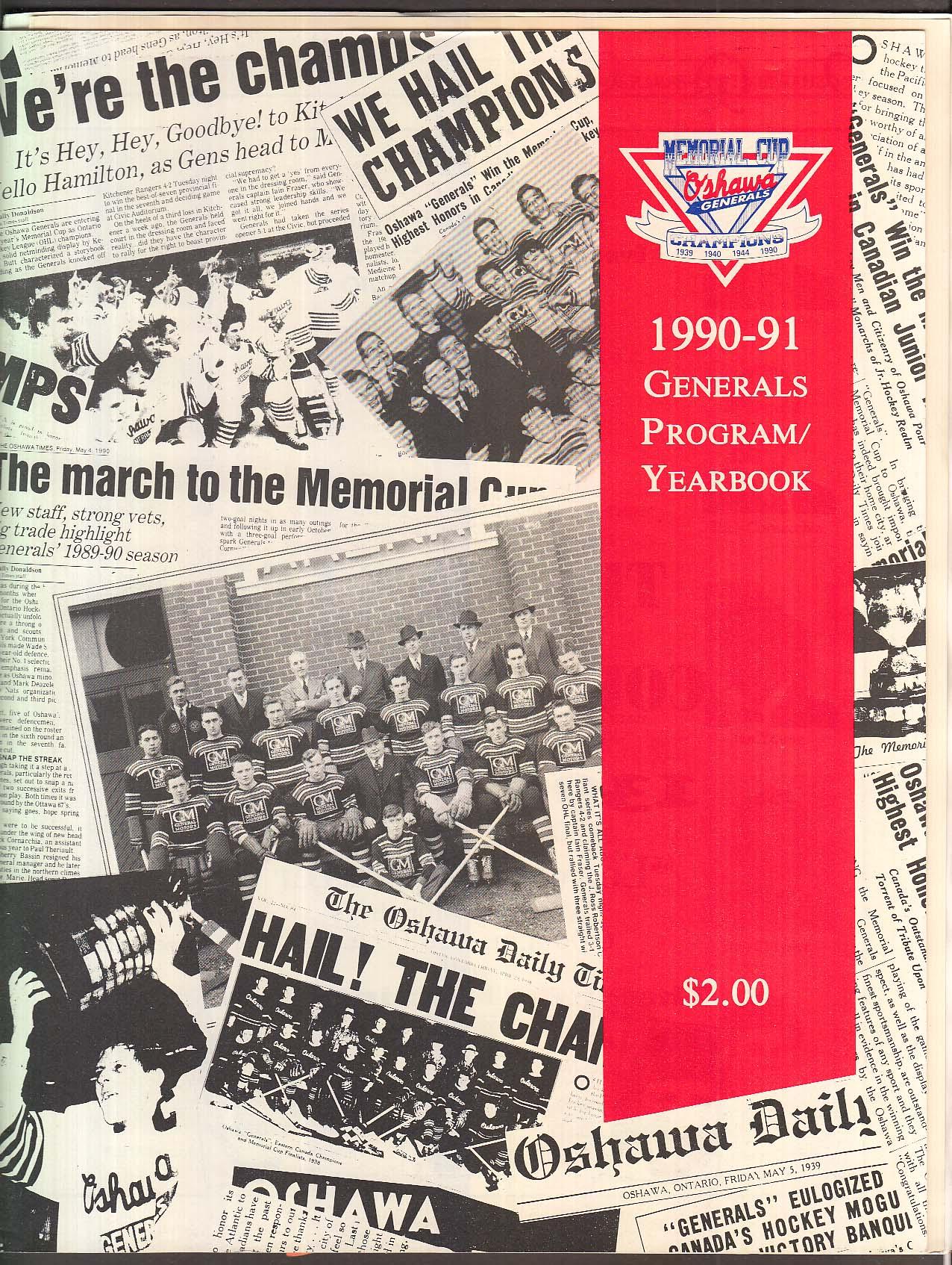 Oshawa Generals 1990-1991 Program/Yearbook
