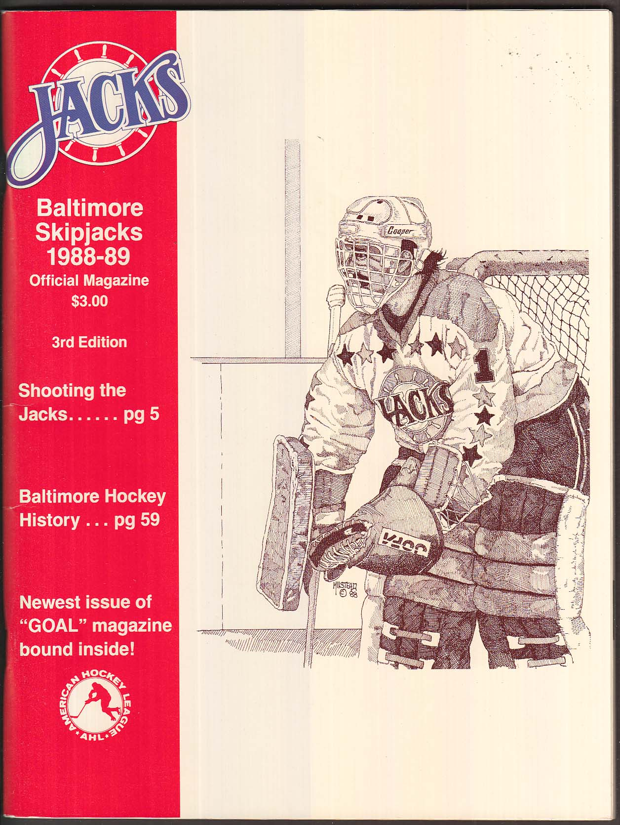 Baltimore Skipjacks 1988-1989 Official Magazine 3rd Edition