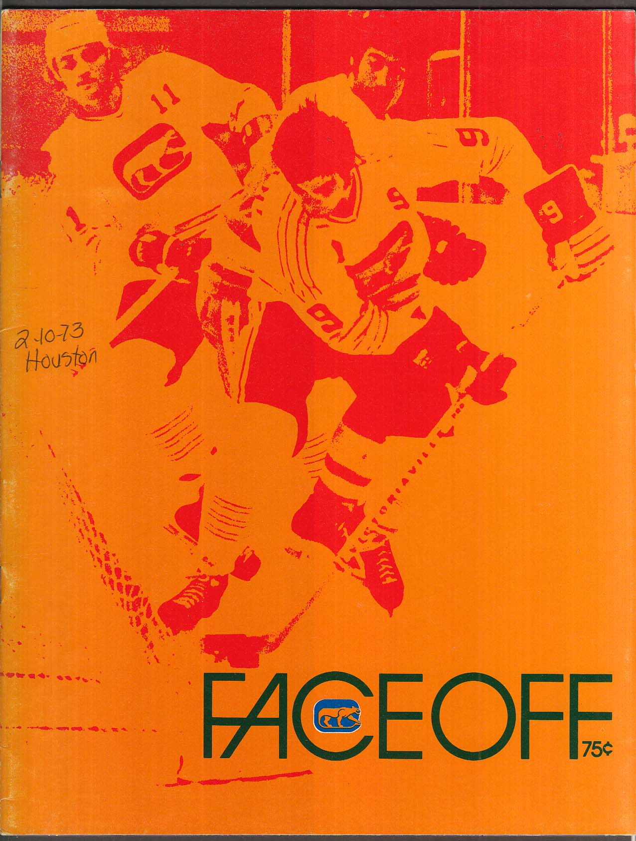 FACEOFF Chicago Cougars Hockey Club Directory 1972-1973 UNSCORED v Houston Aeros